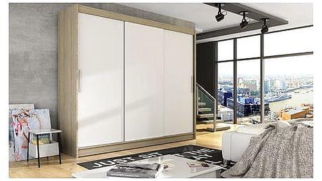 Velká šatní skříň ASTON II dub sonoma/bílá šířka 250 cm