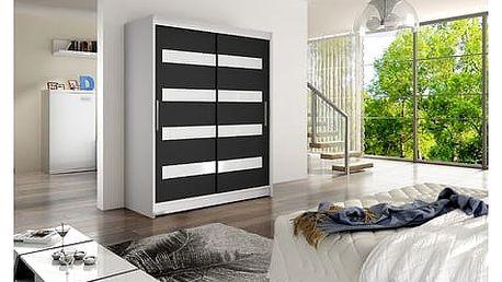 Velká šatní skříň WESTA IV bílá/černá šířka 150 cm