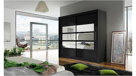 Velká šatní skříň BEGA III černá šířka 180 cm