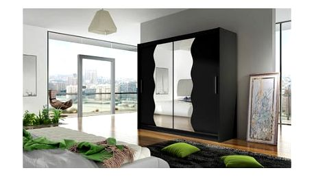 Velká šatní skříň BEGA X černá šířka 150 cm