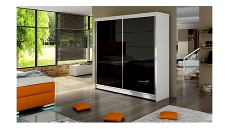 Velká šatní skříň FALCO I bílá/černá šířka 180 cm