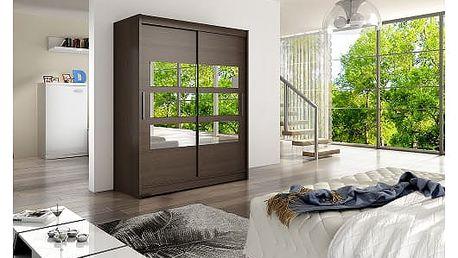 Velká šatní skříň WESTA VII čokoládová šířka 150 cm