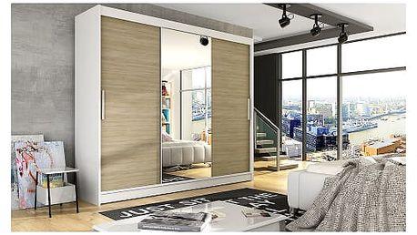 Velká šatní skříň ASTON I bílá/dub sonoma šířka 250 cm