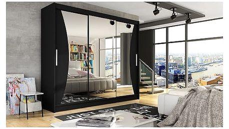 Velká šatní skříň ASTON IV černá šířka 250 cm