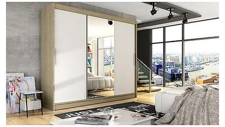 Velká šatní skříň ASTON I dub sonoma/bílá šířka 250 cm