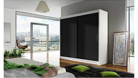 Velká šatní skříň BEGA I bílá/černá šířka 180 cm