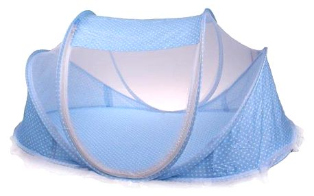 Dětská skládací postýlka - moskytiéra modrá