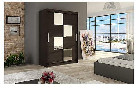 Velká šatní skříň MIAMI III čokoládová šířka 120 cm