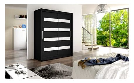 Velká šatní skříň WESTA IV černá šířka 150 cm