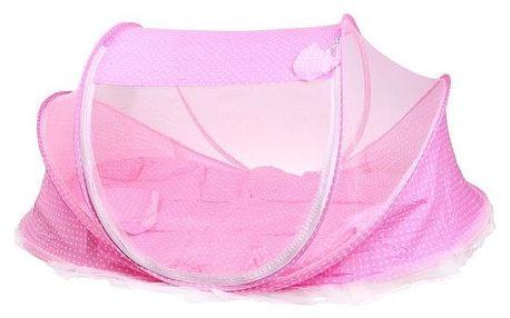 Dětská skládací postýlka - moskytiéra růžová
