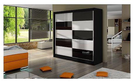 Velká šatní skříň FALCO II černá šířka 180 cm