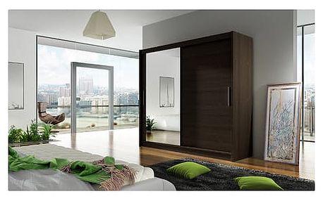 Velká šatní skříň BEGA VI čokoládová šířka 180 cm