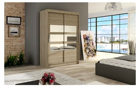 Velká šatní skříň MIAMI V sonoma šířka 120 cm