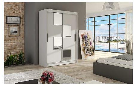 Velká šatní skříň MIAMI III bílá šířka 120 cm