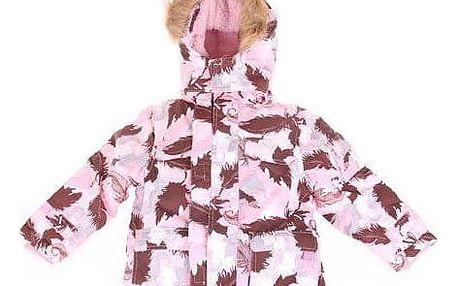 QF Dívčí bunda růžová s motivem peříček