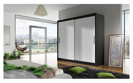 Velká šatní skříň BEGA I černá/bílá šířka 180 cm