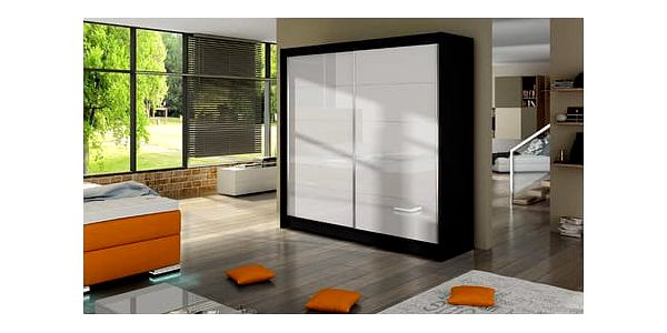 Velká šatní skříň FALCO I černá/bílá šířka 180 cm