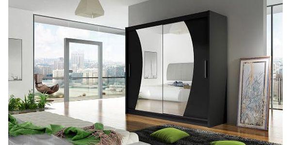 Velká šatní skříň BEGA IX černá šířka 180 cm