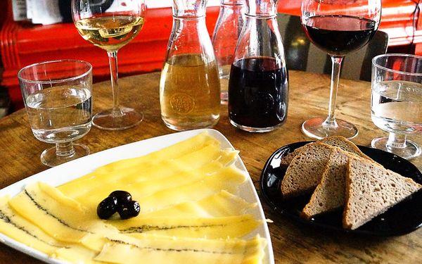 Víno dle výběru a prkénko plné sýrů pro dva