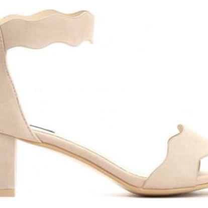 Dámské béžové sandály na podpatku Celyn 2203