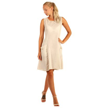 Bavlněné plážové šaty s krajkou béžová