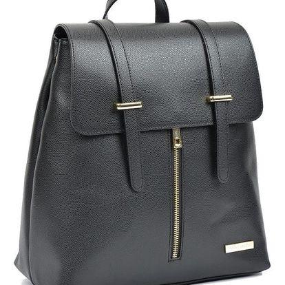 Černý kožený batoh Sofia Cardoni Backon