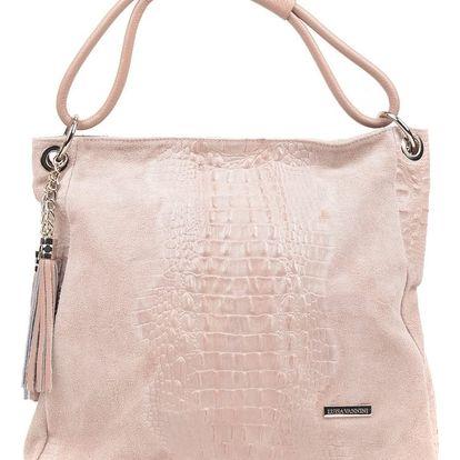 Růžová kožená kabelka Luisa Vannini Zunna