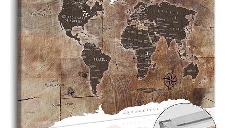 Nástěnka s mapou světa Artgeist Wooden Mosaic, 120x80cm