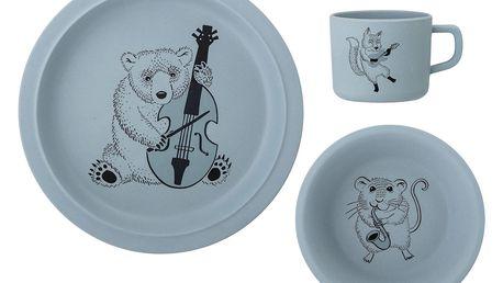 Bloomingville Sada dětského nádobí z bambusu Blue, modrá barva, plast, melamin