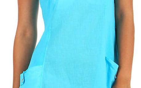 Bavlněné letní šaty s krajkou a výraznými kapsami modrá