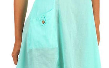 Bavlněné letní šaty s krajkou a výraznými kapsami světle zelená