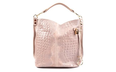 Růžová kožená kabelka Roberta M Halum