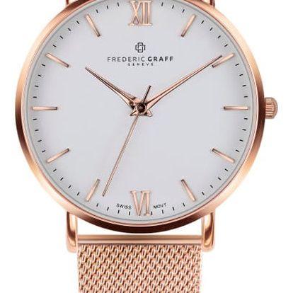 Unisex hodinky s páskem z nerezové oceli v růžovozlaté barvě Frederic Graff Rose Dent Blanche Gold
