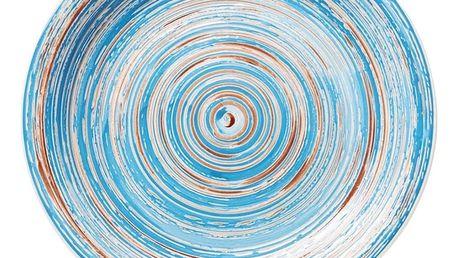 Modrý kameninový talíř Kare Design Swirl, Ø 27 cm