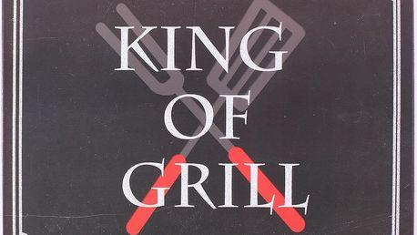 La finesse Plechová cedule King of grill, černá barva, bílá barva, kov