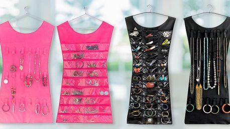 Praktický organizér na šperky: růžový a černý