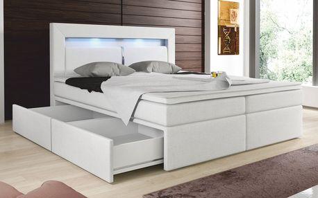 Zvýšená manželská postel CHARLOTTE I 180 cm vč. roštu, matrace a ÚP