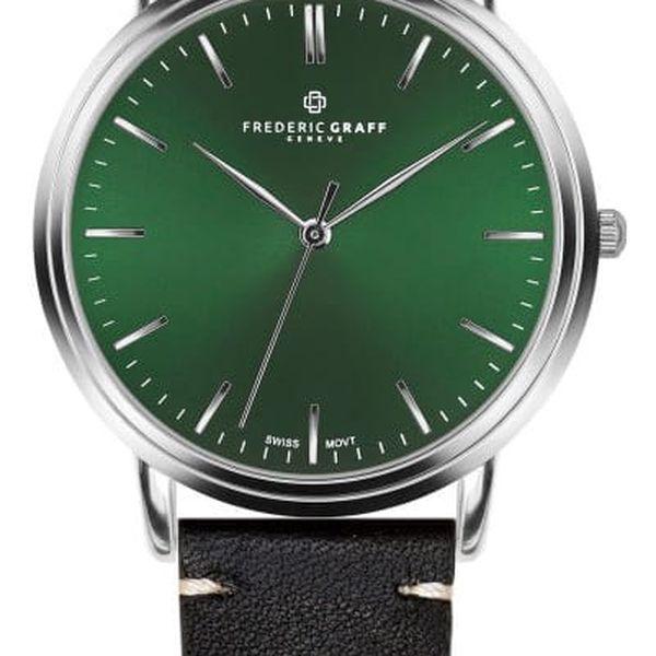 Pánské hodinky s černým páskem z nerezové oceli Frederic Graff Silver Grunhorn Black Leather