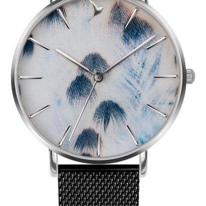 Dámské hodinky s černým páskem z nerezové oceli Emily Westwood Feathers