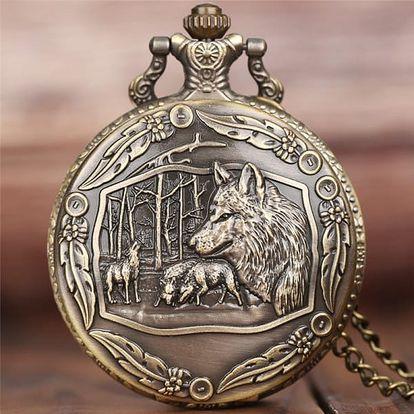 Kapesní vintage hodinky s vlčí smečkou
