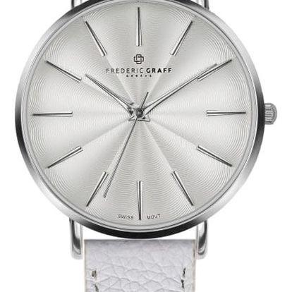 Dámské hodinky s bílým páskem z pravé kůže Frederic Graff Silver Monte Rosa Lychee White Leather