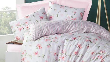 Night in Colorus Krepové povlečení Magnolia růžová, 220 x 200 cm, 2x 70 x 90 cm