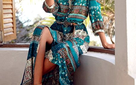 Volné bohémské šaty s tříčtvrtečními rukávy - 3 varianty