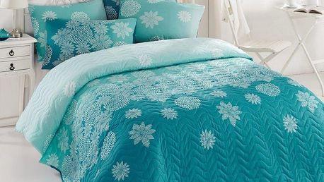 Lehký přehoz s povlaky na polštáře Simay Turquoise,200x220cm