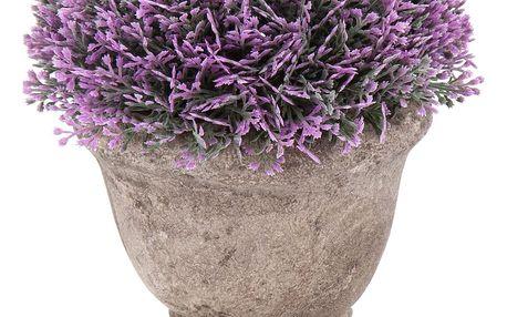 Umělá květina v betonovém květináči, zelená