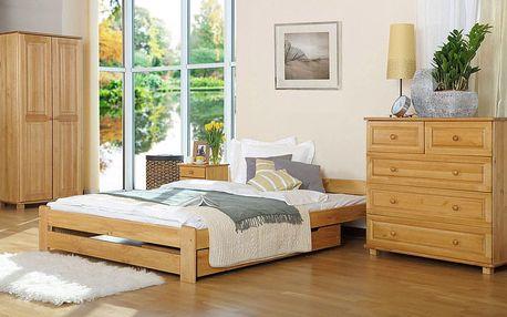 Dřevěná postel Niwa 90x200 + rošt ZDARMA ořech