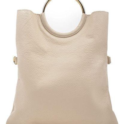 Béžová kožená kabelka Luisa Vannini Pergon Cross