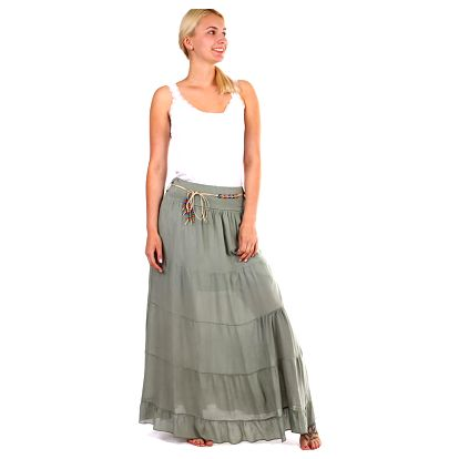 Dámská maxi sukně s korálkovým páskem khaki