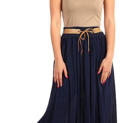 Dámská maxi sukně s kapsami tmavě modrá
