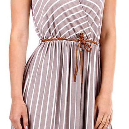 Pruhované dámské šaty- zavinovací efekt hnědá
